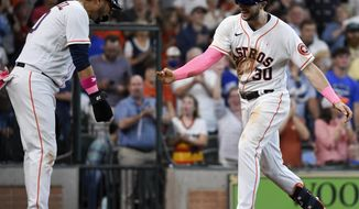 Houston Astros' Kyle Tucker (30) celebrates his three-run home run with Yuli Gurriel during the fourth inning of a baseball game against the Toronto Blue Jays, Sunday, May 9, 2021, in Houston. (AP Photo/Eric Christian Smith)