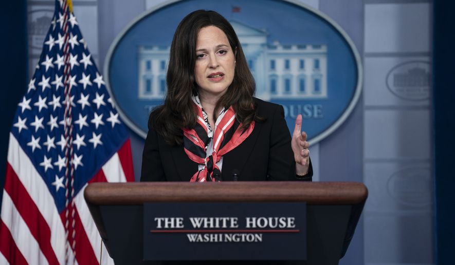 In this file photo, White House Deputy National Security Adviser for Cyber and Emerging Technologies Anne Neuberger speaks during a press briefing at the White House, Monday, May 10, 2021, in Washington. (AP Photo/Evan Vucci)  **FILE**