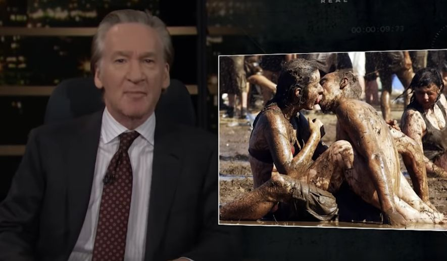 """HBO """"Real Time"""" host Bill Maher tells his audience that """"f—ing in the mud"""" liberalism has been ruined by """"woke kids"""" who are """"the worst parts of a Southern Baptist,"""" May 7, 2021. (Image: HBO, """"Real Time with Bill Maher"""" video screenshot)"""