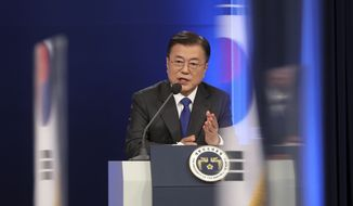 South Korean President Moon Jae-in answers reporter's question after he delivered a special address to mark the fourth anniversary of his inauguration at the presidential Blue House in Seoul, South Korea, Monday, May 10, 2021. South Korea's leader said Monday he'll use his upcoming summit with President Joe Biden to push to restart diplomacy with North Korea, saying that Biden favors a diplomatic, phased approach to resolve the North Korean nuclear crisis. (Choi Jae-gu/Yonhap via AP) **FILE**