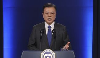 South Korean President Moon Jae-in speaks at the presidential Blue House in Seoul, South Korea, Monday, May 10, 2021. South Korea's leader said Monday he'll use his upcoming summit with President Joe Biden to push to restart diplomacy with North Korea, saying that Biden favors a diplomatic, phased approach to resolve the North Korean nuclear crisis. (Choi Jae-gu/Yonhap via AP)