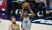 Washington Wizards' Bradley Beal (3) shoots against Indiana Pacers' Domantas Sabonis (11) during the first half of an NBA basketball game, Saturday, May 8, 2021, in Indianapolis. (AP Photo/Darron Cummings) **FILE**