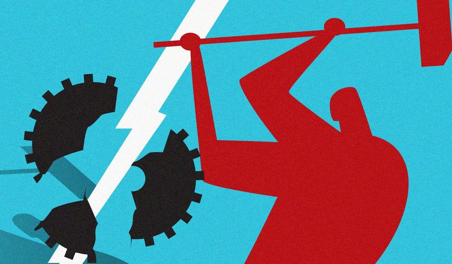 Democrats' attempts to usurp worker freedom illustration by Linas Garsys / The Washington Times