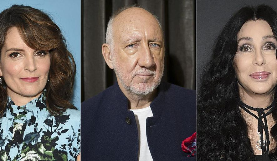 This combination of photos shows celebrities that have a birthday the week of May 16-22, from left, Janet Jackson, Trent Reznor, Tina Fey, Pete Townshend, Cher, David Ajala and Maggie Q. (AP Photo)
