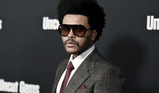 """FILE - The Weeknd attends the LA premiere of """"Uncut Gems"""" in Los Angeles on Dec. 11, 2019. The Weeknd will celebrate his whopping 16 nominations at the Billboard Music Awards with a performance at the show. Dick clark productions announced that the pop star will hit the stage at the May 23 event. It will air live on NBC from the Microsoft Theater in Los Angeles. (Photo by Richard Shotwell/Invision/AP, File)"""