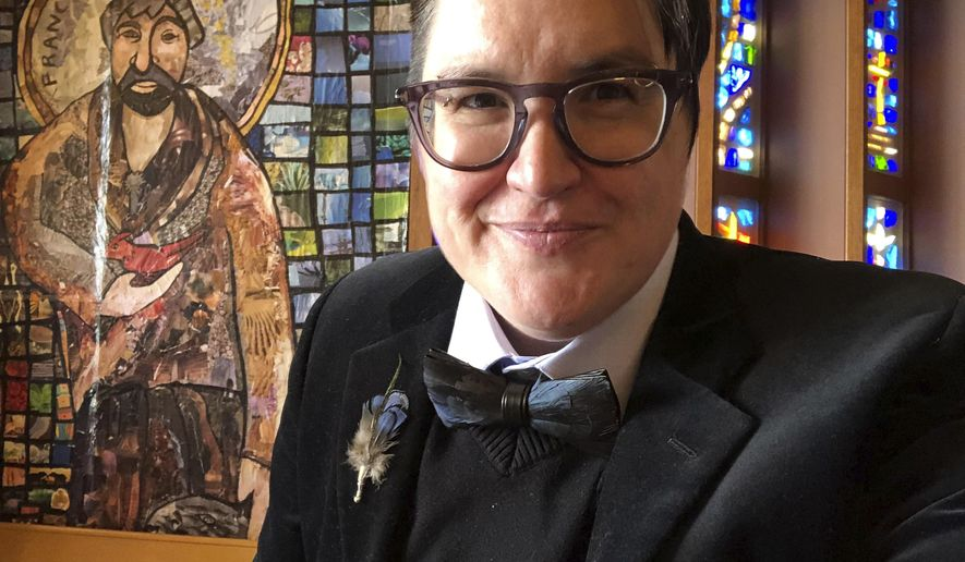 This undated selfie photo provided in May 2021 shows the Rev. Megan Rohrer, who was elected bishop of the Evangelical Lutheran Church in America's Sierra Pacific synod on Saturday, May 8, 2021, becoming the first transgender person to serve as bishop in the denomination or in any of the U.S.' major Christian faiths. (Meghan Rohrer via AP)