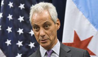 Chicago Mayor Rahm Emanuel speaks during a news conference in Chicago. (AP Photo/Matt Marton)
