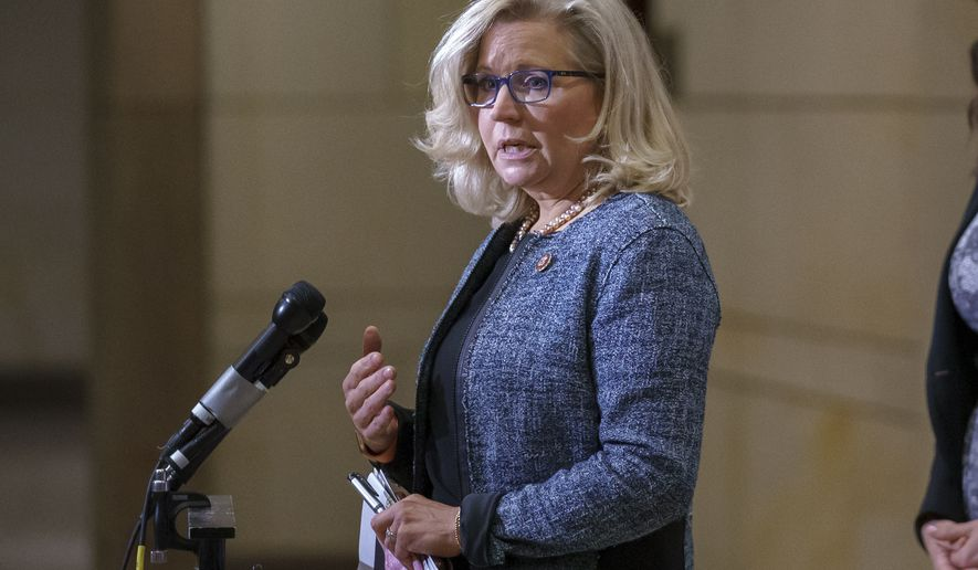 In this photo taken Tuesday, April 20, 2021, House Republican Conference Chair Rep. Liz Cheney, R-Wyo., speaks to reporters following a GOP meeting at the Capitol in Washington. House Minority Leader Kevin McCarthy, R-Calif., has set a Wednesday vote for removing Cheney from her No. 3 Republican leadership post after Cheney repeatedly challenged former President Donald Trump over his claims of widespread voting fraud and his role in encouraging supporters' Jan. 6 attack on the Capitol. (AP Photo/J. Scott Applewhite)