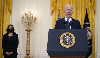 Vice President Kamala Harris listens as President Joe Biden speaks about the economy, in the East Room of the White House, Monday, May 10, 2021, in Washington. (AP Photo/Evan Vucci) **FILE**