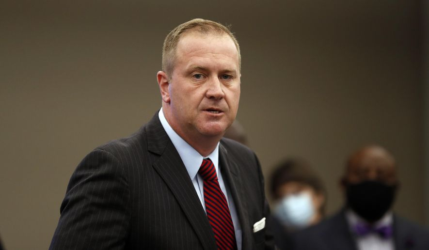 In this Aug. 6, 2020, file photo, Missouri Attorney General Eric Schmitt speaks during a news conference in St. Louis. (AP Photo/Jeff Roberson, File)