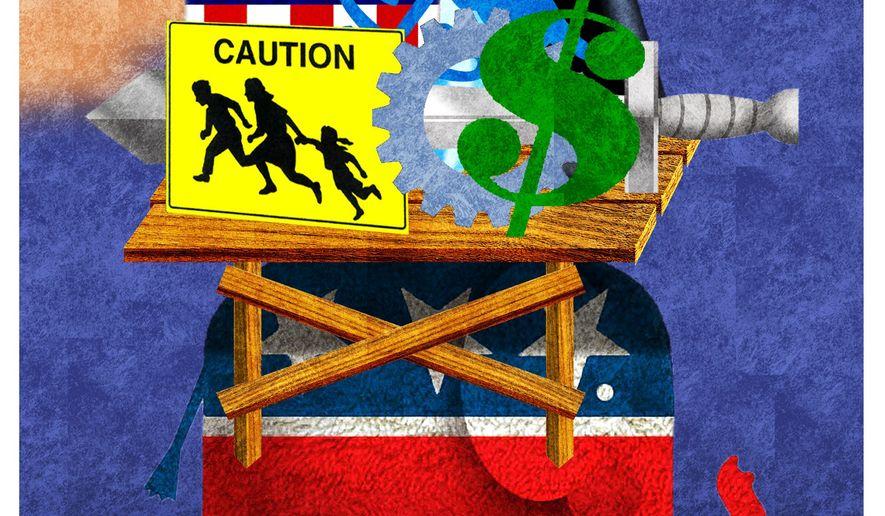 Illustration on proposed GOP (Republican) platform by Alexander Hunter/The Washington Times
