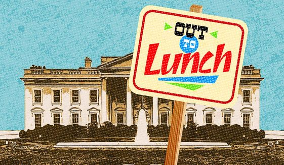 Biden Out to Lunch Illustration by Greg Groesch/The Washington Times