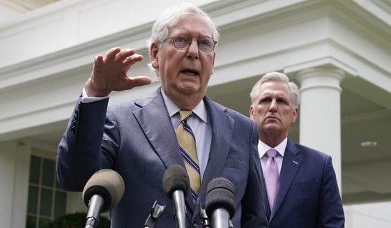 Senate Minority Leader Mitch McConnell of Ky., and House Minority Leader Kevin McCarthy of Calif., speak to reporters outside the White House after a meeting with President Joe Biden, Wednesday, May 12, 2021, in Washington. (AP Photo/Evan Vucci) ** FILE **