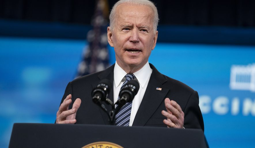 President Joe Biden delivers remarks about COVID vaccinations in the South Court Auditorium at the White House, Wednesday, May 12, 2021, in Washington. (AP Photo/Evan Vucci)