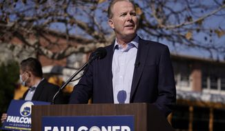 FILE - In this Feb. 2, 2021, file photo, Republican gubernatorial candidate Kevin Faulconer speaks during a news conference in the San Pedro section of Los Angeles. Faulconer announced Wednesday, May 12, 2021, that he wants to eliminate state income tax for some low- and middle-income people if he's elected. He would need support in the Democratically controlled state Legislature. (AP Photo/Jae C. Hong, File)