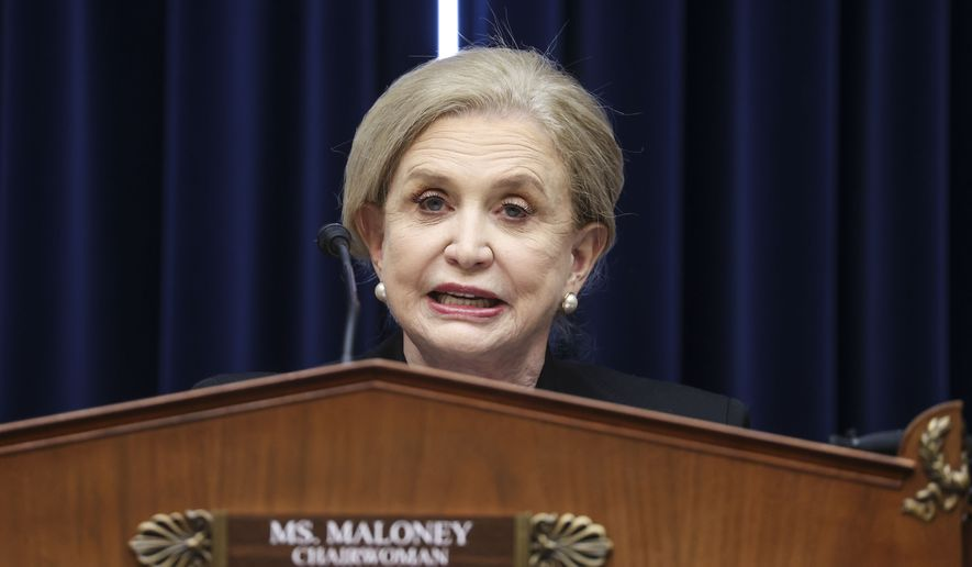 House Oversight and Reform Committee Chairwoman Carolyn Maloney, D-N.Y., speaks during a House Oversight and Reform Committee regarding the on Jan. 6 attack on the U.S. Capitol, on Capitol Hill in Washington, Wednesday, May 12, 2021. (Jonathan Ernst/Pool via AP) **FILE**