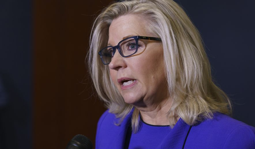 Rep. Liz Cheney, R-Wyo., speaks to reporters after House Republicans voted to oust her from her leadership post as chair of the House Republican Conference because of her repeated criticism of former President Donald Trump for his false claims of election fraud and his role in instigating the Jan. 6 U.S. Capitol attack, at the Capitol in Washington, Wednesday, May 12, 2021. (AP Photo/J. Scott Applewhite)