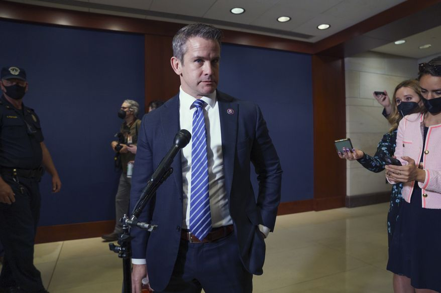 In this file photo, Rep. Adam Kinzinger, R-Ill., speaks to reporters in Washington, Wednesday, May 12, 2021. Mr. Kinzinger is among a minority of House Republicans on the record supporting the $1.2 trillion infrastructure bill on Capitol Hill that is supported by the U.S. Chamber of Commerce.  (AP Photo/J. Scott Applewhite) ** FILE **