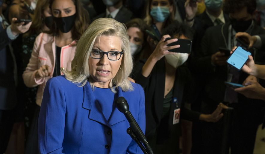 Rep. Liz Cheney, R-Wyo., speaks to reporters after House Republicans voted to oust her from her leadership post as chair of the House Republican Conference because of her repeated criticism of former President Donald Trump for his false claims of election fraud and his role in instigating the Jan. 6 U.S. Capitol attack, at the Capitol in Washington, Wednesday, May 12, 2021. (AP Photo/Manuel Balce Ceneta) ** FILE **