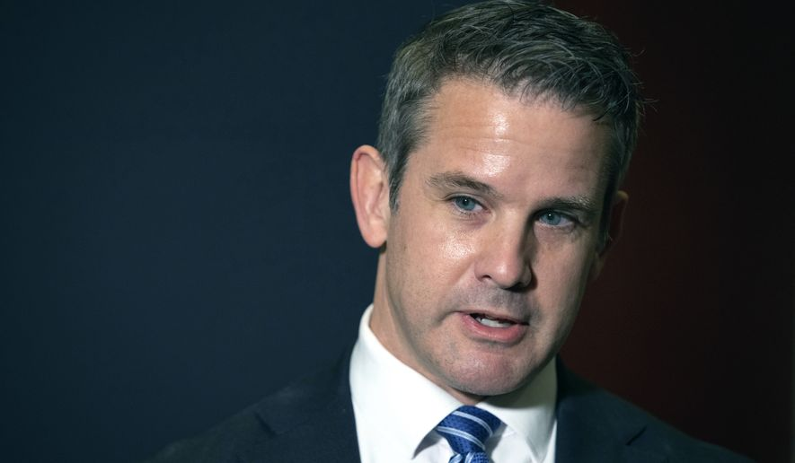 Rep. Adam Kinzinger, R-Ill., speaks to the media after Rep. Liz Cheney, R-Wyo., was ousted from her leadership role in the House Republican Conference, Wednesday, May 12, 2021 at the Capitol in Washington. (AP Photo/Amanda Andrade-Rhoades)