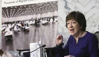 Sen. Susan Collins, R-Maine, speaks during a Senate Appropriations committee hearing to examine domestic extremism, Wednesday, May 12, 2021 on Capitol Hill in Washington. (Alex Wong/Pool via AP) **FILE**