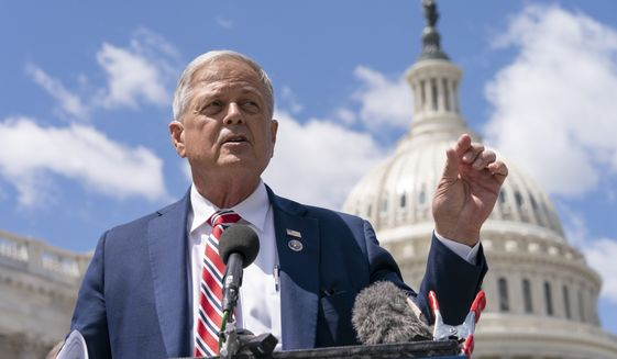 """Rep. Ralph Norman, R-S.C., speaks during a news conference, Wednesday, May 12, 2021, with Rep. Dan Bishop, R-N.C., expressing their opposition to """"critical race theory,"""" on Capitol Hill in Washington. (AP Photo/Jacquelyn Martin)"""
