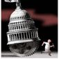 Illustration on the PRO act and business by Alexander Hunter/The Washington times