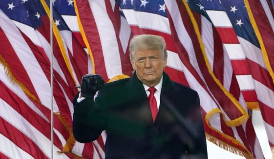 In this Jan. 6, 2021, file photo, President Donald Trump gestures as he arrives to speak at a rally in Washington. (AP Photo/Jacquelyn Martin, File)  ** FILE **