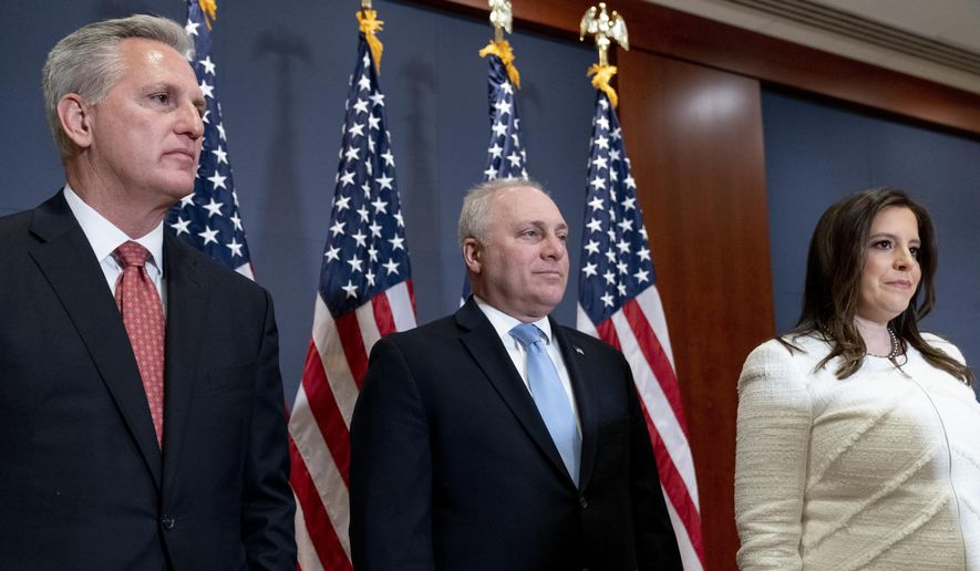 From left, House Minority Leader Kevin McCarthy of Calif., House Minority Whip Steve Scalise, R-La., and Newly-elected House Republican Conference Chair Rep. Elise Stefanik, R-N.Y., appear at a news conference just after Stefanik was elected chair of the House Republican Conference, replacing Rep. Liz Cheney, R-Wyo., who was ousted from the GOP leadership for criticizing former President Donald Trump, at the Capitol in Washington, Friday, May 14, 2021. (AP Photo/Andrew Harnik)