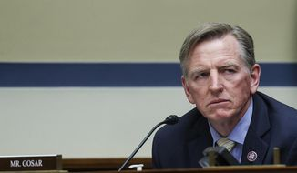 Rep. Paul Gosar, R-Ariz., listens during a House Oversight and Reform Committee regarding the on Jan. 6 attack on the U.S. Capitol, on Capitol Hill in Washington, Wednesday, May 12, 2021. (Jonathan Ernst/Pool via AP/File)