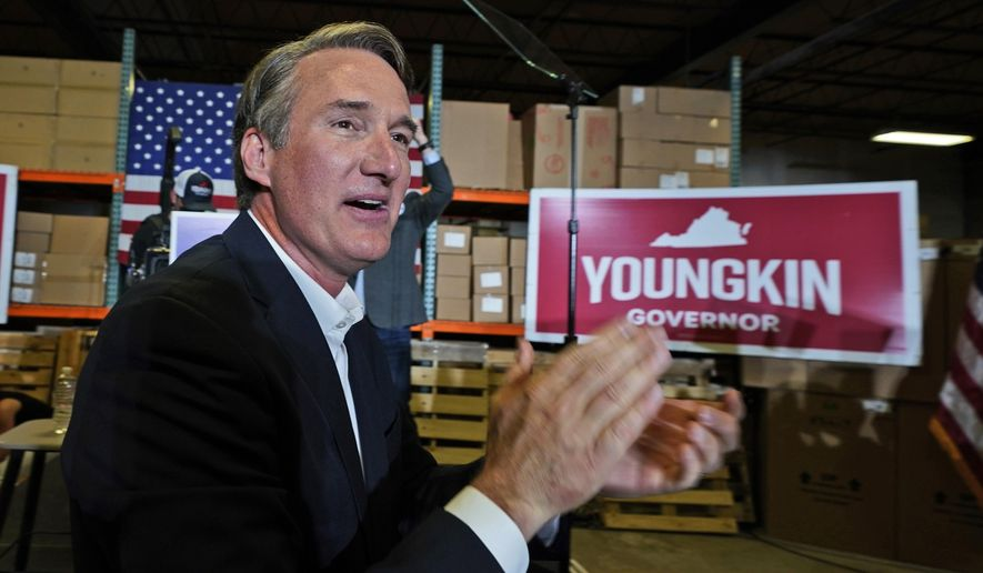 Virginia Republican gubernatorial candidate Glen Youngkin arrives for an event in Richmond, Va., Tuesday, May 11, 2021. (AP Photo/Steve Helber) **FILE**