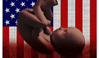 Illustration on abortion of black babies by Alexander Hunter/The Washington Times