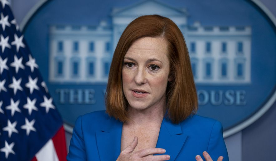 White House press secretary Jen Psaki speaks during a briefing at the White House, Monday, May 17, 2021, in Washington. (AP Photo/Evan Vucci)