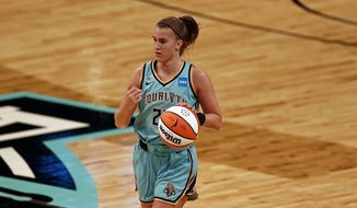 New York Liberty guard Sabrina Ionescu (20) in action against the Indiana Fever during a WNBA basketball game, Friday, May 14, 2021, in New York. (AP Photo/Adam Hunger)