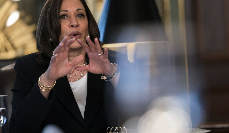 Vice President Kamala Harris speaks during a meeting with the Congressional Hispanic Caucus (CHC), from her ceremonial office, Monday, May 17, 2021, on the White House complex in Washington. (AP Photo/Jacquelyn Martin)
