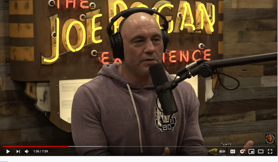 "Joe Rogan talks with Joe List, May 13, 2021. (Image: YouTube, ""The Joe Rogan Experience"" video screenshot) ** FILE **"