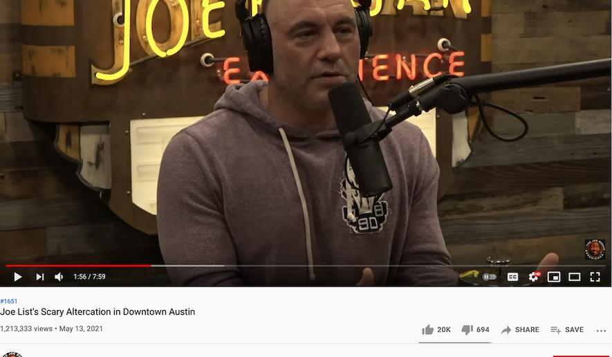 "Joe Rogan talks with Joe List, May 13, 2021. (Image: YouTube, ""The Joe Rogan Experience"" video screenshot)"