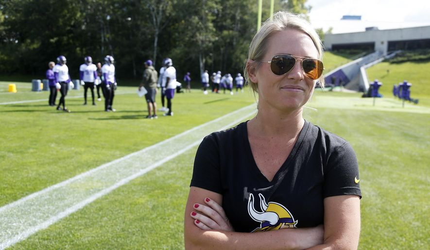 Kelly Kleine, the  Minnesota Vikings coordinator of college scouting, poses during NFL football practice in Eden Prairie, Minn., in this Sept. 5, 2017, file photo. The Denver Broncos have hired Kelly Kleine as executive director of football operations and special advisor to the general manager, Monday, May 17, 2021.  (AP Photo/Jim Mone, File) **FILE**