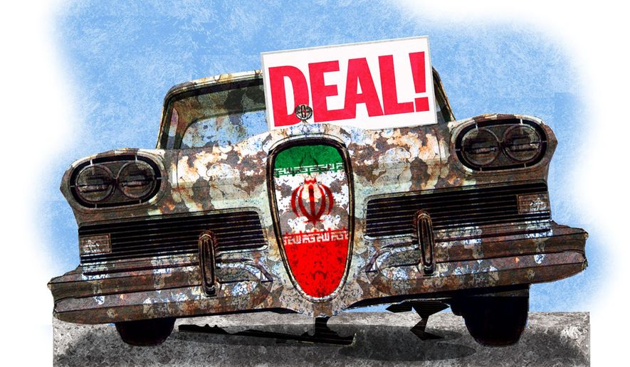 Illustration on a new Iran deal by Alexander Hunter/The Washington Times