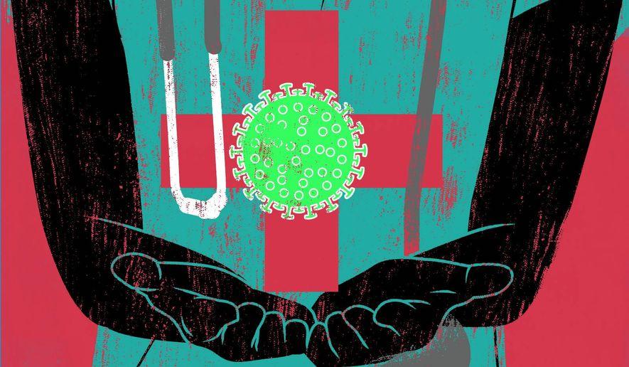 COVID-19 vaccination shot illustration by Linas Garsys / The Washington Times