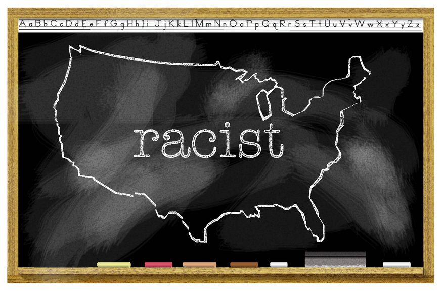 Illustration on critical race theory education by Alexander Hunter/The Washington Times