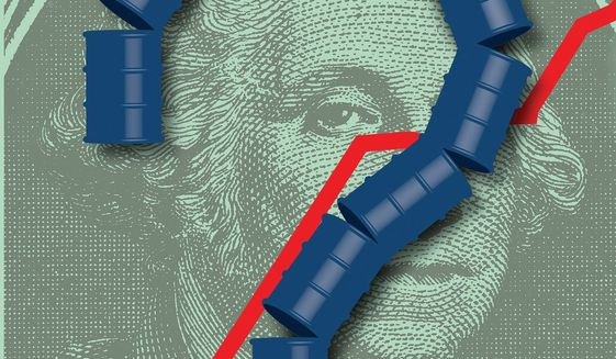 Illustration on price gouging gasoline and oil by Linas Garsys/The Washington Times