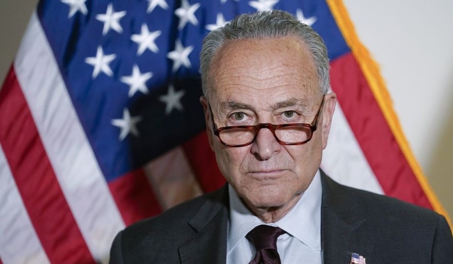 Senate Majority Leader Chuck Schumer of New York listens during a media availability on Capitol Hill in Washington, on Tuesday, May 18, 2021. (AP Photo/Susan Walsh) **FILE**