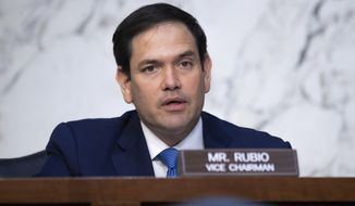 In this April 14, 2021, file photo, Sen. Marco Rubio, R-Fla., speaks during a Senate Select Committee on Intelligence hearing on Capitol Hill in Washington. (Saul Loeb/Pool via AP) ** FILE **