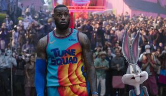 """This image released by Warner Bros. Pictures shows LeBron James in a scene from """"Space Jam: A New Legacy."""" (Warner Bros. Pictures via AP)"""