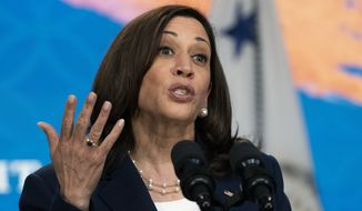 Vice President Kamala Harris speaks to the Asian Pacific American Heritage Month Unity Summit from the Eisenhower Executive Office Building on the White House complex, Wednesday, May 19, 2021. (AP Photo/Manuel Balce Ceneta)