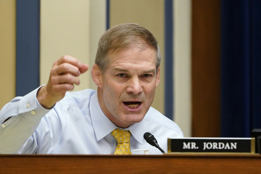 Rep. Jim Jordan, R-Ohio, speaks during a House Select Subcommittee on the Coronavirus Crisis hybrid hearing on Capitol Hill in Washington, Wednesday, May 19, 2021. The hearing is examining Emergent BioSolutions, a Maryland biotech firm whose Baltimore plant ruined millions of doses of the coronavirus vaccine. (AP Photo/Susan Walsh, Pool) **FILE**