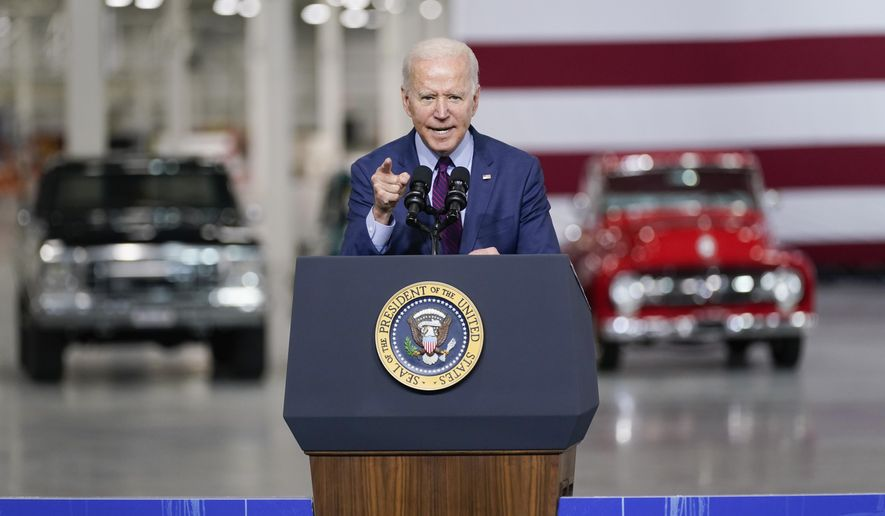 President Joe Biden speaks at the Ford Rouge EV Center, Tuesday, May 18, 2021, in Dearborn, Mich. (AP Photo/Evan Vucci)