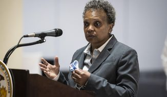 In this Monday, May 10. 2021, file photo, Mayor Lori Lightfoot discusses Chicago's vaccination efforts during a news conference in Chicago. (Ashlee Rezin Garcia/Chicago Sun-Times via AP, File)