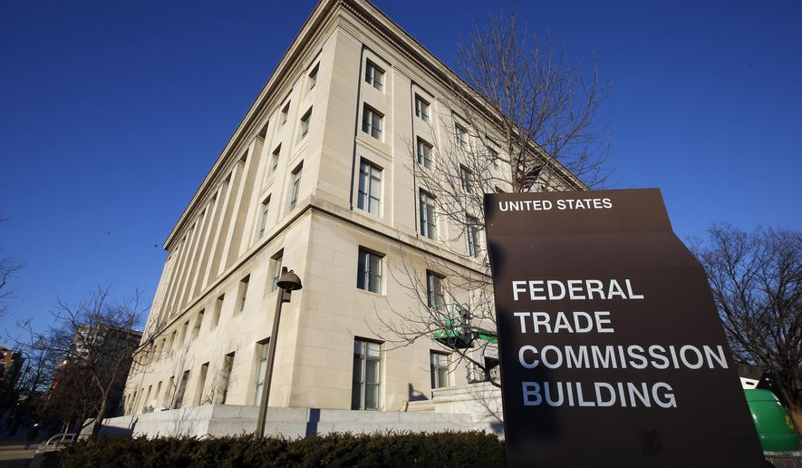 This Jan. 28, 2015, file photo, shows the Federal Trade Commission building in Washington.    (AP Photo/Alex Brandon, File)  **FILE**